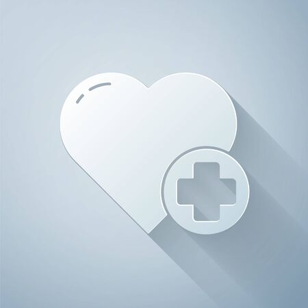 Paper cut Heart with a cross icon isolated on grey background. First aid. Healthcare, medical and pharmacy sign. Paper art style. Vector Illustration Illusztráció