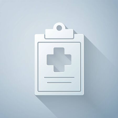 Paper cut Medical clipboard with clinical record icon isolated on grey background. Health insurance form. Prescription, medical check marks report. Paper art style. Vector Illustration Illusztráció