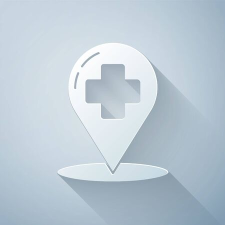 Paper cut Medical map pointer with cross hospital icon isolated on grey background. Paper art style. Vector Illustration Illusztráció