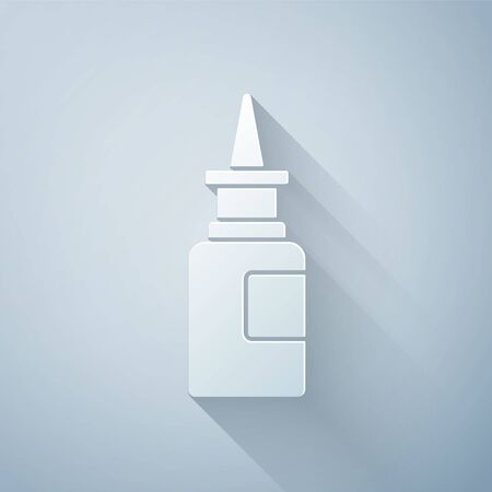 Paper cut Bottle nasal spray icon isolated on grey background. Paper art style. Vector Illustration