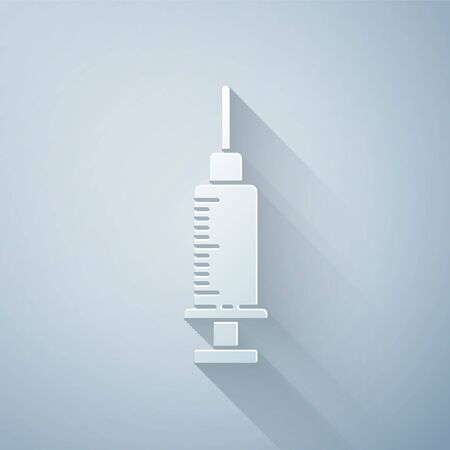 Paper cut Syringe icon isolated on grey background. Syringe for vaccine, vaccination, injection, flu shot. Medical equipment. Paper art style. Vector Illustration Illustration