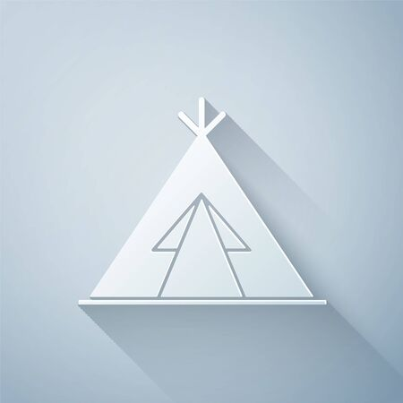 Paper cut Traditional indian teepee or wigwam icon isolated on grey background. Indian tent. Paper art style. Vector Illustration