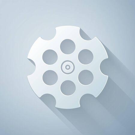 Paper cut Revolver cylinder icon isolated on grey background. Paper art style. Vector Illustration Illusztráció