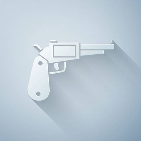 Paper cut Revolver gun icon isolated on grey background. Paper art style. Vector Illustration