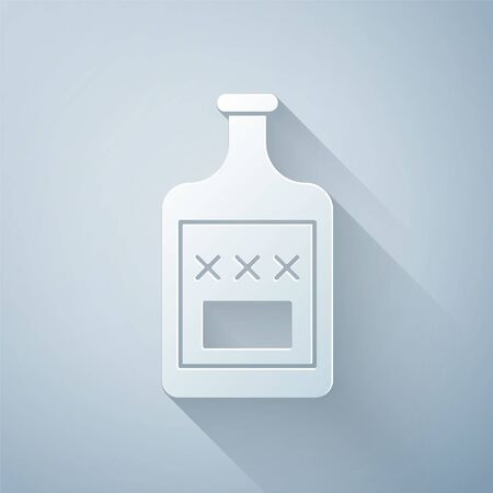 Paper cut Whiskey bottle icon isolated on grey background. Paper art style. Vector Illustration