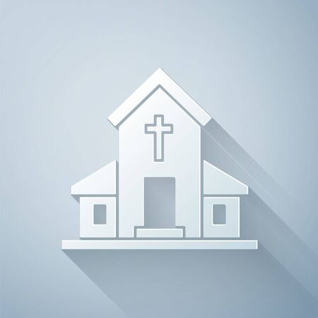 Paper cut Church building icon isolated on grey background. Christian Church. Religion of church. Paper art style. Vector Illustration