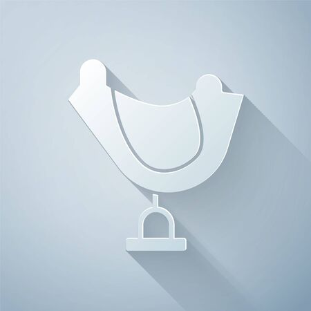 Paper cut Wild west saddle icon isolated on grey background. Paper art style. Vector Illustration Illusztráció