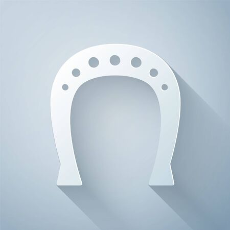 Paper cut Horseshoe icon isolated on grey background. Paper art style. Vector Illustration