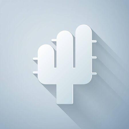 Paper cut Cactus icon isolated on grey background. Paper art style. Vector Illustration Illusztráció