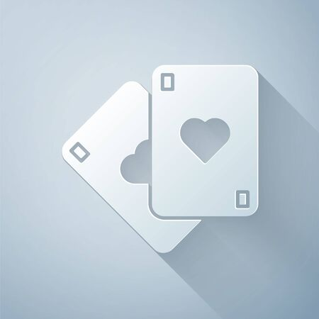 Paper cut Playing cards icon isolated on grey background. Casino gambling. Paper art style. Vector Illustration Illusztráció
