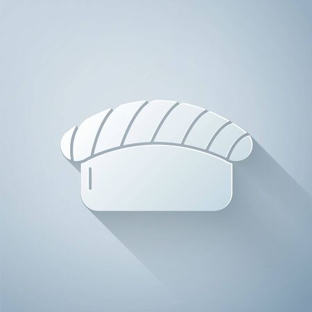 Paper cut Sushi icon isolated on grey background. Traditional Japanese food. Paper art style. Vector Illustration  イラスト・ベクター素材