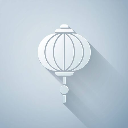 Paper cut Chinese paper lantern icon isolated on grey background. Paper art style. Vector Illustration