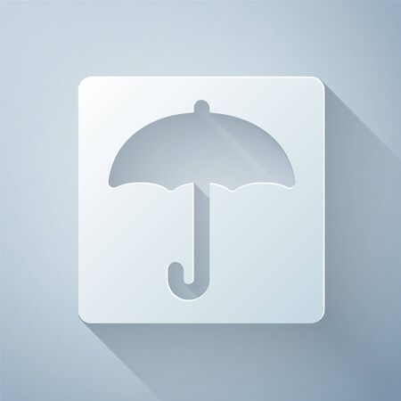 Paper cut Umbrella icon isolated on grey background. Waterproof icon. Protection, safety, security concept. Water resistant symbol. Paper art style. Vector Illustration