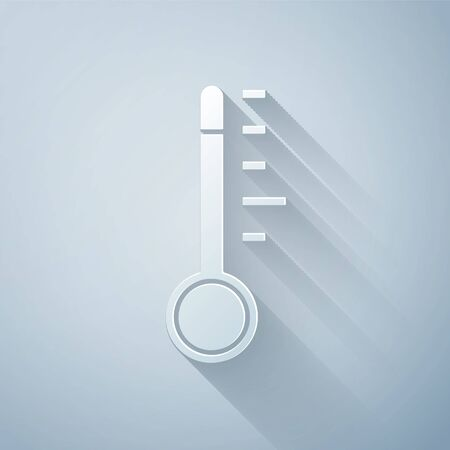Paper cut Meteorology thermometer measuring icon isolated on grey background. Thermometer equipment showing hot or cold weather. Paper art style. Vector Illustration