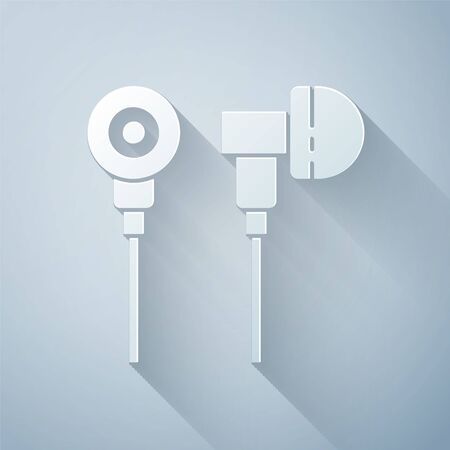 Paper cut Air headphones icon icon isolated on grey background. Holder wireless in case earphones garniture electronic gadget. Paper art style. Vector Illustration