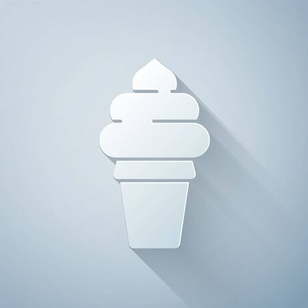 Paper cut Ice cream in waffle cone icon isolated on grey background. Sweet symbol. Paper art style. Vector Illustration Illustration