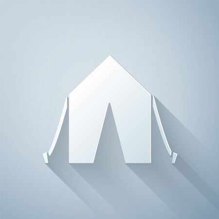 Paper cut Tourist tent icon isolated on grey background. Camping symbol. Paper art style. Vector Illustration Ilustração