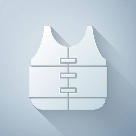 Paper cut Life jacket icon isolated on grey background. Life vest icon. Extreme sport. Sport equipment. Paper art style. Vector Illustration Illustration