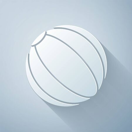 Paper cut Beach ball icon isolated on grey background. Paper art style. Vector Illustration