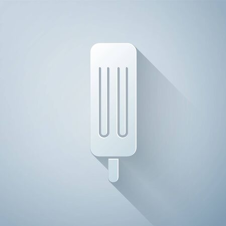 Paper cut Ice cream icon isolated on grey background. Sweet symbol. Paper art style. Vector Illustration