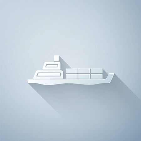 Paper cut Oil tanker ship icon isolated on grey background. Paper art style. Vector Illustration Stock Illustratie