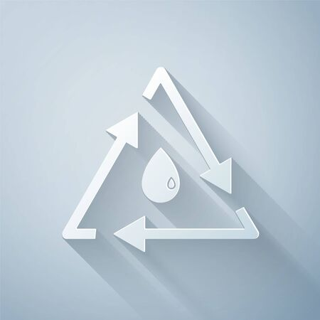 Paper cut Oil drop with recycle icon isolated on grey background. Paper art style. Vector Illustration