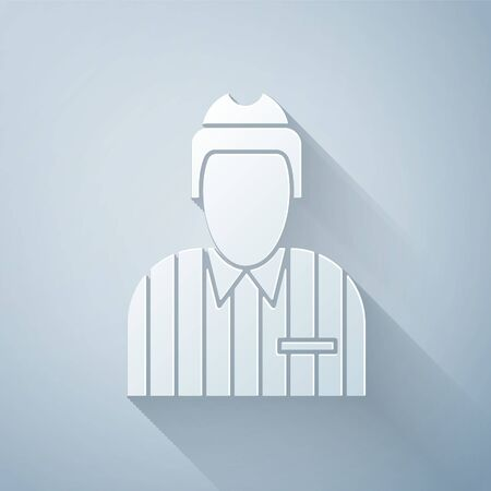 Paper cut Hockey judge, referee, arbiter icon isolated on grey background. Paper art style. Vector Illustration