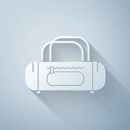 Paper cut Sport bag icon isolated on grey background. Paper art style. Vector Illustration Vettoriali