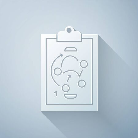 Paper cut Planning strategy concept icon isolated on grey background. Hockey cup formation and tactic. Paper art style. Vector Illustration