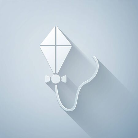 Paper cut Kite icon isolated on grey background. Paper art style. Vector Illustration 일러스트