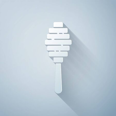 Paper cut Honey dipper stick icon isolated on grey background. Honey ladle. Paper art style. Vector Illustration