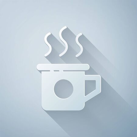 Paper cut Cup of tea icon isolated on grey background. Sweet natural food. Paper art style. Vector Illustration Ilustracja