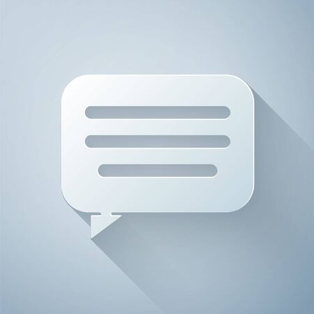 Paper cut Speech bubble chat icon isolated on grey background. Message icon. Communication or comment chat symbol. Paper art style. Vector Illustration Ilustracja