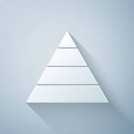 Paper cut Business pyramid chart infographics icon isolated on grey background. Pyramidal stages graph elements. Paper art style. Vector Illustration Vector Illustratie