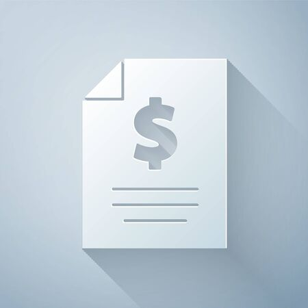 Paper cut Contract money icon isolated on grey background. Banking document dollar file finance money page. Paper art style. Vector Illustration Ilustrace