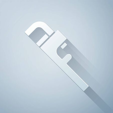 Paper cut Pipe adjustable wrench icon isolated on grey background. Paper art style. Vector Illustration