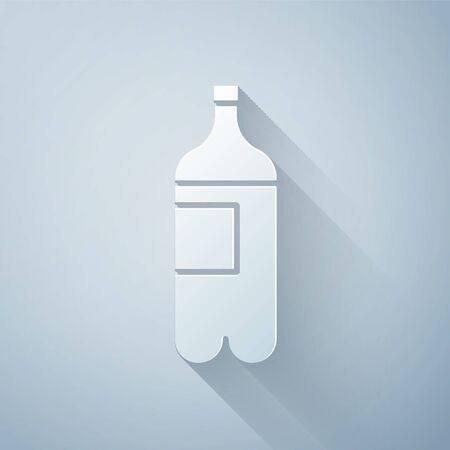 Paper cut Bottle of water icon isolated on grey background. Soda aqua drink sign. Paper art style. Vector Illustration