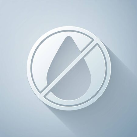 Paper cut Water drop forbidden icon isolated on grey background. No water sign. Paper art style. Vector Illustration 일러스트