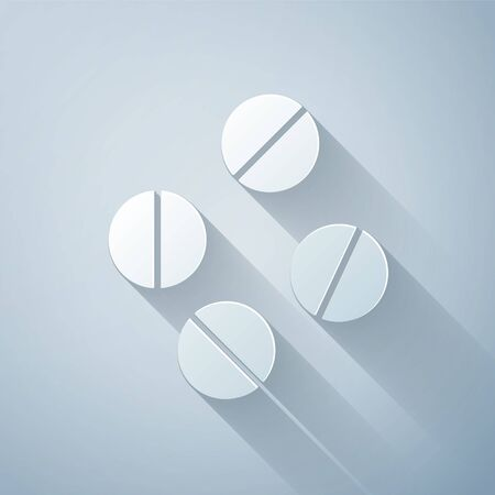 Paper cut Medicine pill or tablet icon isolated on grey background. Capsule pill and drug sign. Pharmacy design. Paper art style. Vector Illustration