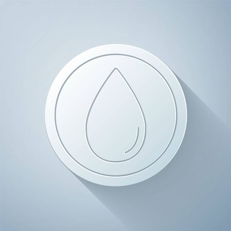 Paper cut Water drop icon isolated on grey background. Paper art style. Vector Illustration
