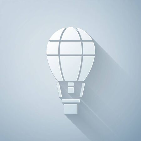 Paper cut Hot air balloon icon isolated on grey background. Air transport for travel. Paper art style. Vector Illustration