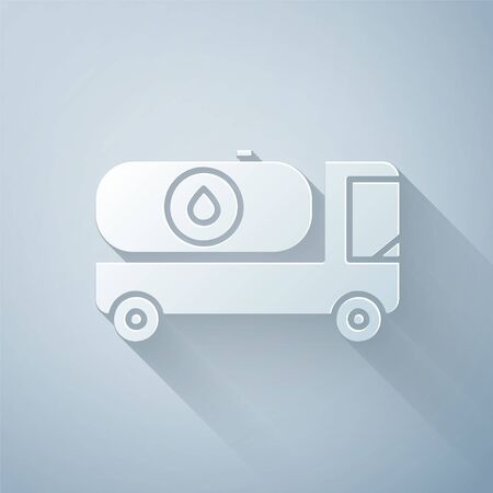 Paper cut Fuel tanker truck icon isolated on grey background. Gasoline tanker. Paper art style. Vector Illustration