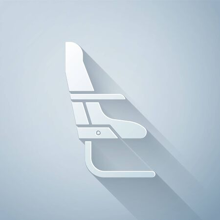 Paper cut Airplane seat icon isolated on grey background. Paper art style. Vector Illustration Vetores