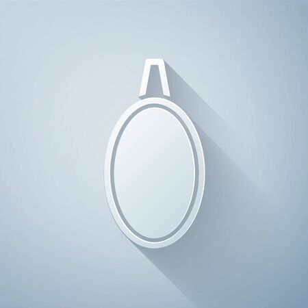 Paper cut Mirror icon isolated on grey background. Paper art style. Vector Illustration