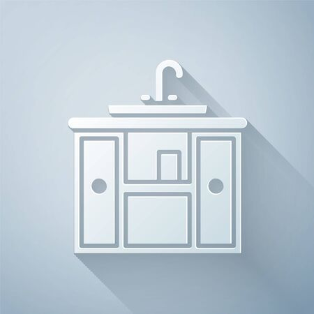 Paper cut Washbasin cabinet with water tap icon isolated on grey background. Paper art style. Vector Illustration Ilustrace