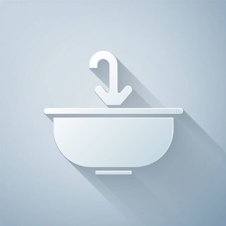 Paper cut Washbasin with water tap icon isolated on grey background. Paper art style. Vector Illustration