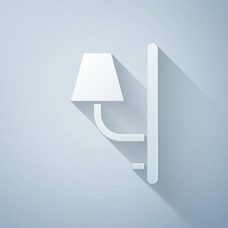 Paper cut Wall sconce icon isolated on grey background. Wall lamp light. Paper art style. Vector Illustration