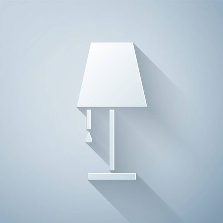 Paper cut Table lamp icon isolated on grey background. Paper art style. Vector Illustration