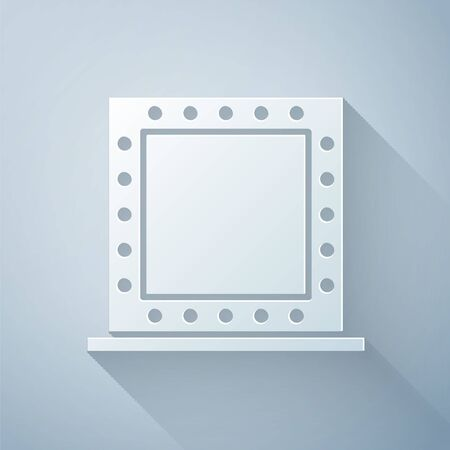 Paper cut Makeup mirror with lights icon isolated on grey background. Paper art style. Vector Illustration Ilustrace