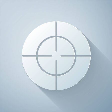 Paper cut Target sport icon isolated on grey background. Clean target with numbers for shooting range or shooting. Paper art style. Vector Illustration
